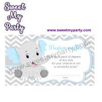 Blue and Grey Elephant diaper raffle,(7ebb)