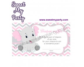 Pink and Grey Elephant diaper raffle,(10ebb)