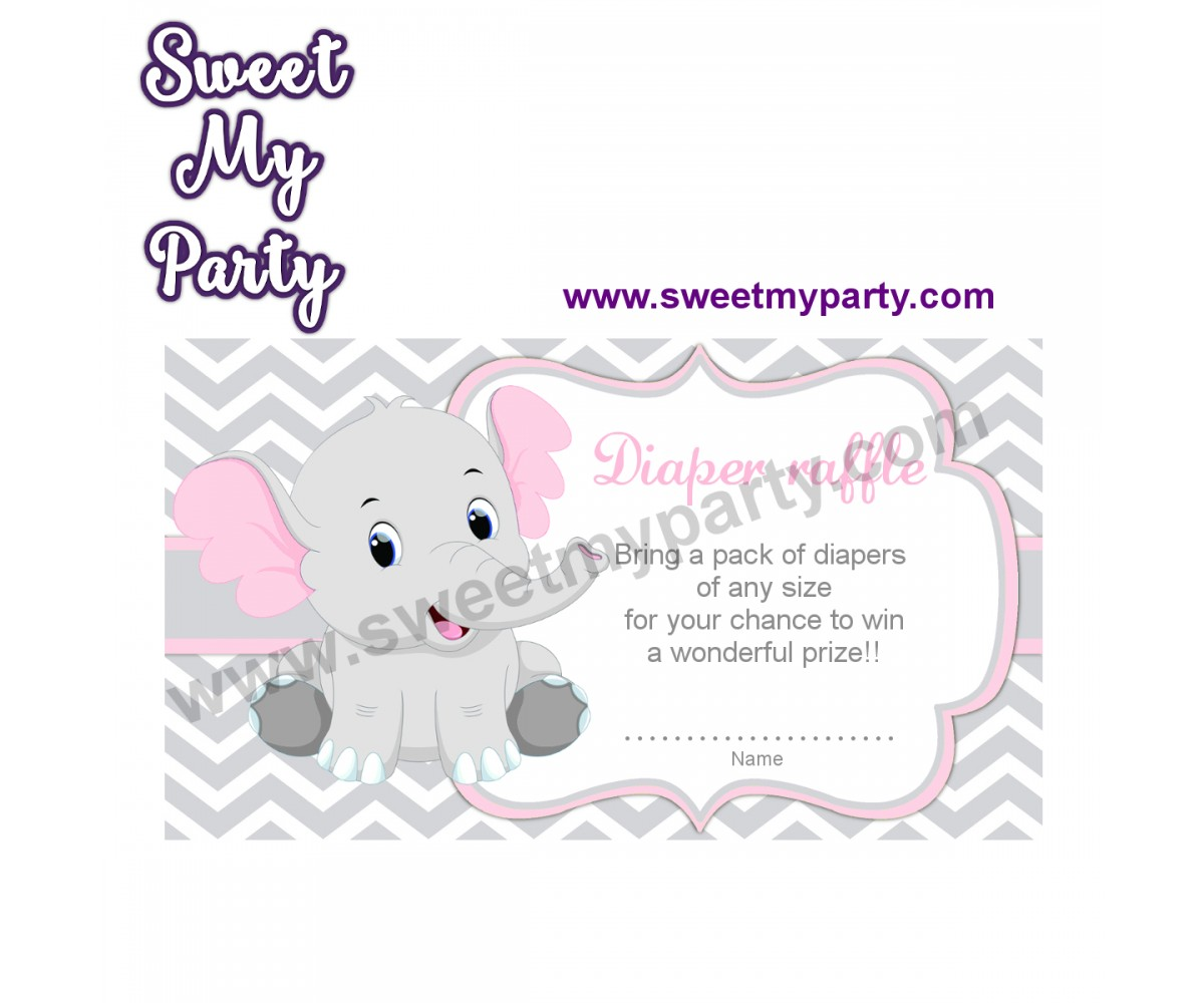 Pink and Grey Elephant diaper raffle,(9ebb)