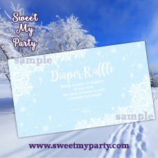 Winter Wonderland Baby Shower blue diaper raffle tickets,(blue 5)