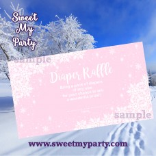 Winter Wonderland Baby Shower pink diaper raffle tickets,(pink 5)