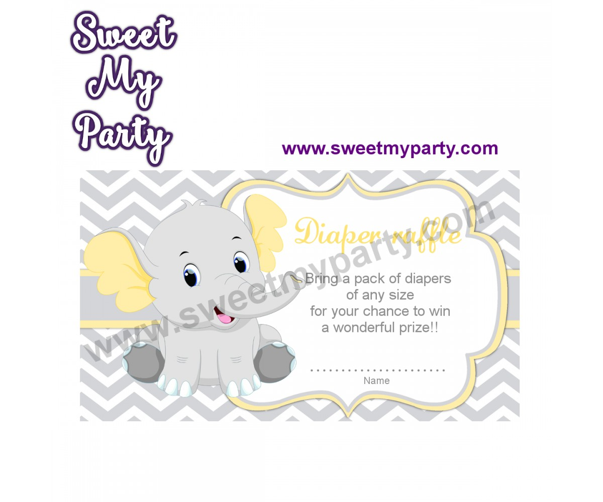 Yellow and Grey Elephant diaper raffle,(005ebs)