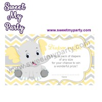 Yellow and Grey Elephant diaper raffle,(006ebs)