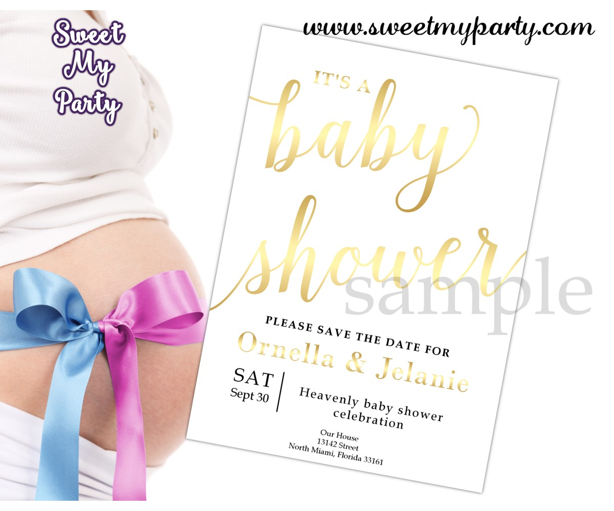 Gold Baby Shower Invitation,Gender Baby Shower Invitation, (007bbg)