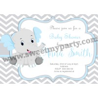 Blue and Grey Elephant Baby Shower Invitation,(7ebb)