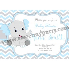 Blue and Grey Elephant Baby Shower Invitation,(8ebb)