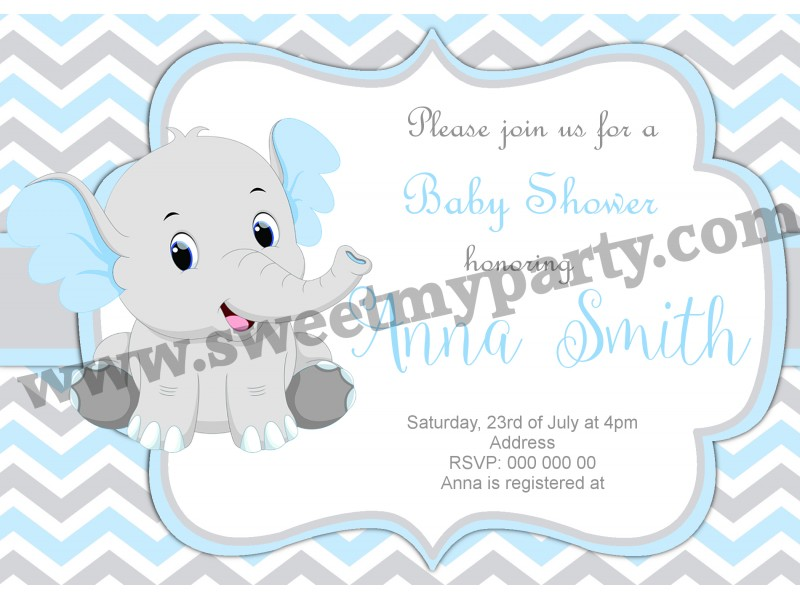 blue and grey chevron elephant baby shower invitations|elephant baby ...