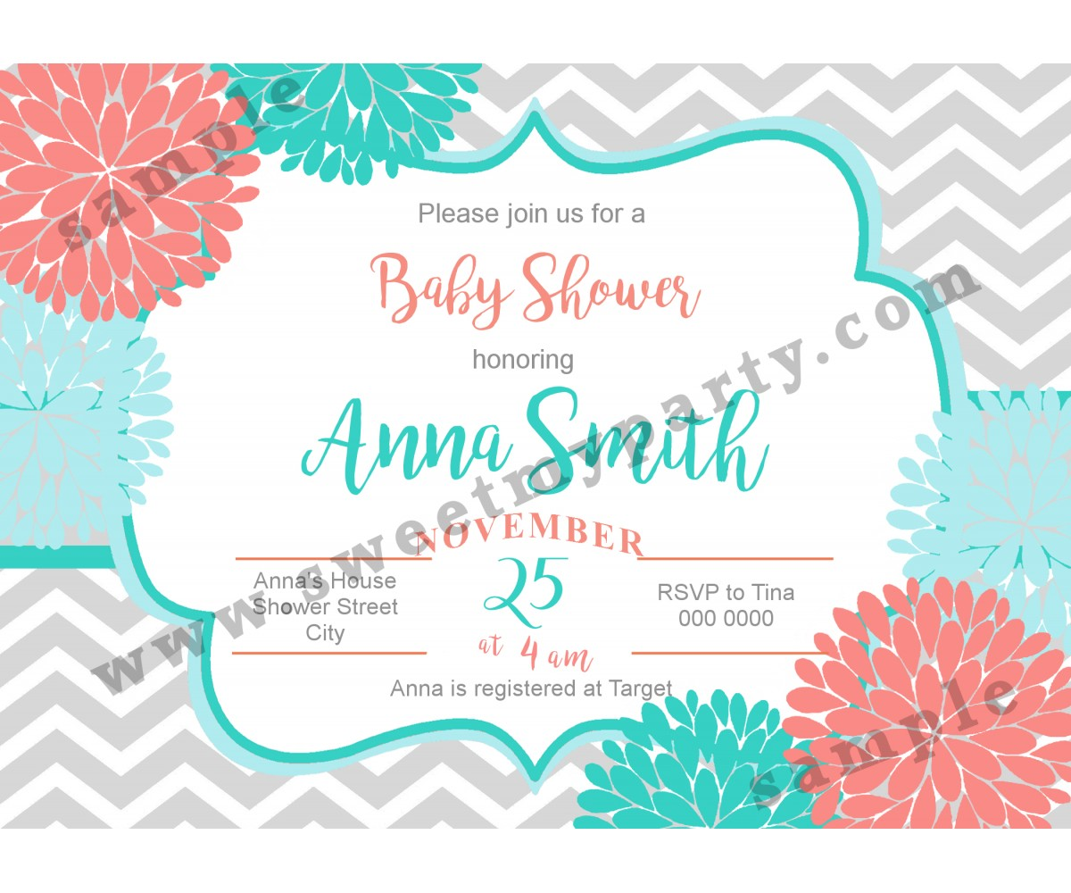 Floral Coral Turquoise Baby Shower Invitation,modern typographic baby shower invitation,(01bbg)