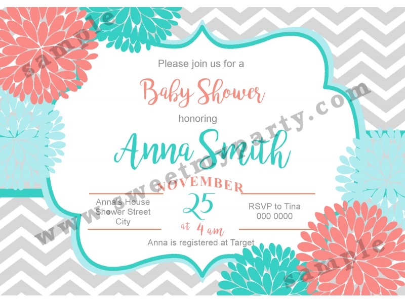 Floral Coral Turquoise Baby Shower Invitations Modern Typographic