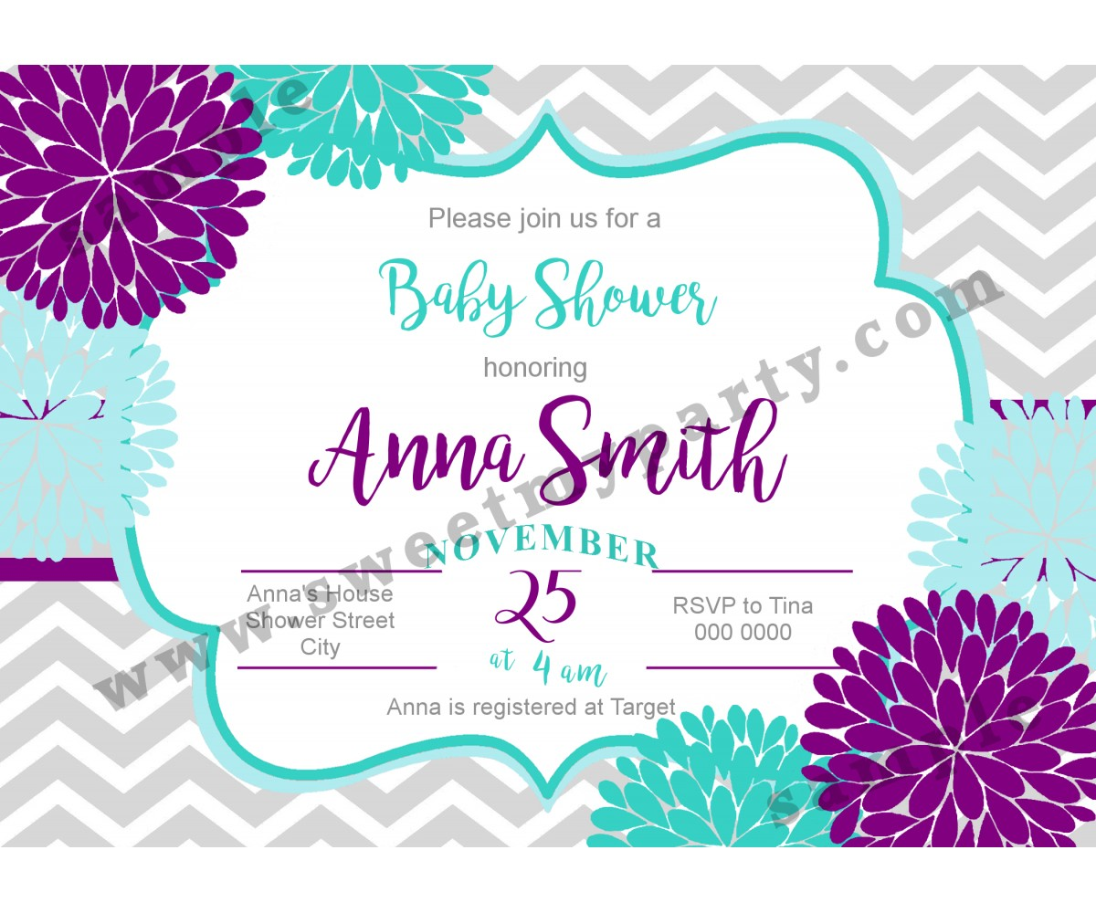 Floral Purple Aqua Blue Baby Shower Invitation,(02bbg)