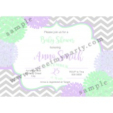 Floral Lilac Mint Baby Shower Invitation,(03bbg)