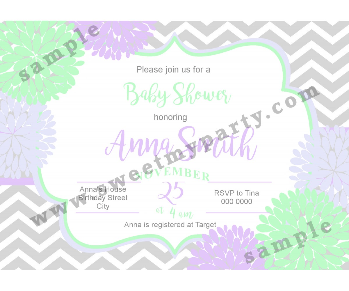 Floral Lilac Mint Baby Shower Invitation,(05bbg)