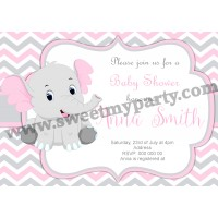 Pink and Grey Elephant Baby Shower Invitation,(10ebb)