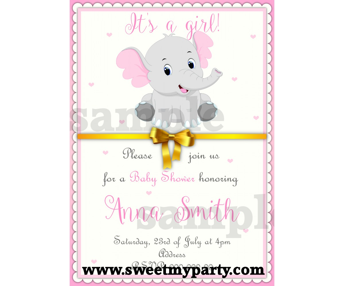 Grey Elephant Baby Shower Invitations