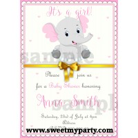 Pink and Grey Elephant Baby Shower Invitation,(1bebb)