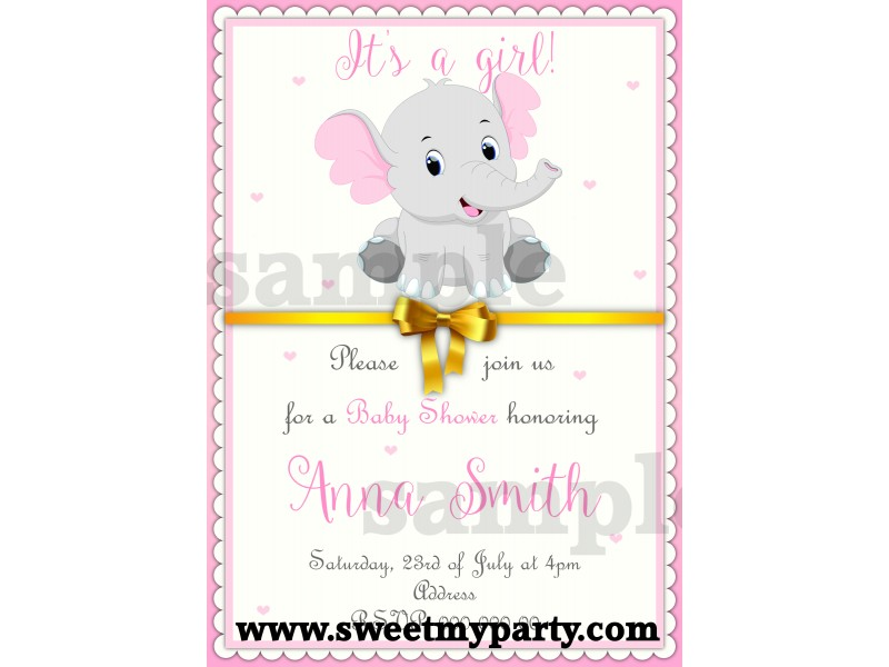 Pink And Grey Elephant Baby Shower Invitation,(1bebb) ...