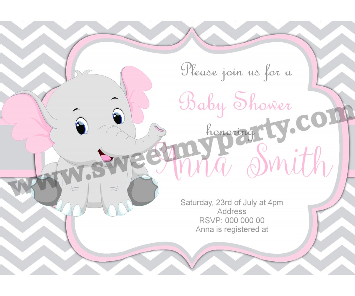 Pink and Grey Elephant Baby Shower Invitation,(9ebb)