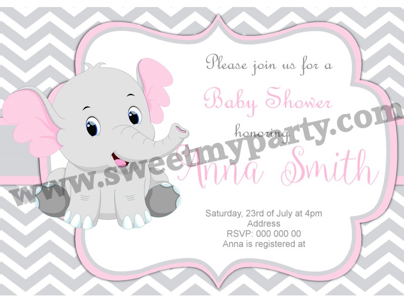 Pink Grey Chevron Elephant Baby Shower Invitations Elephant Baby