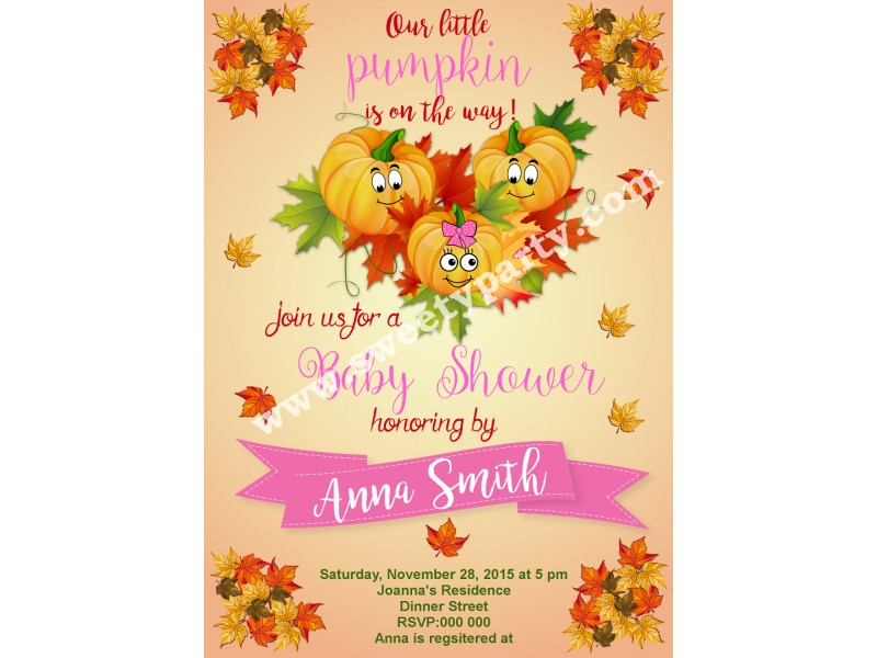 Pumpkin Baby Shower Invitation, (001bspump) ...