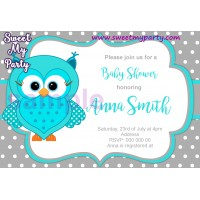 Turquoise Owl Baby Shower invitation,Turquoise Owl Baby Shower invitation,(001)