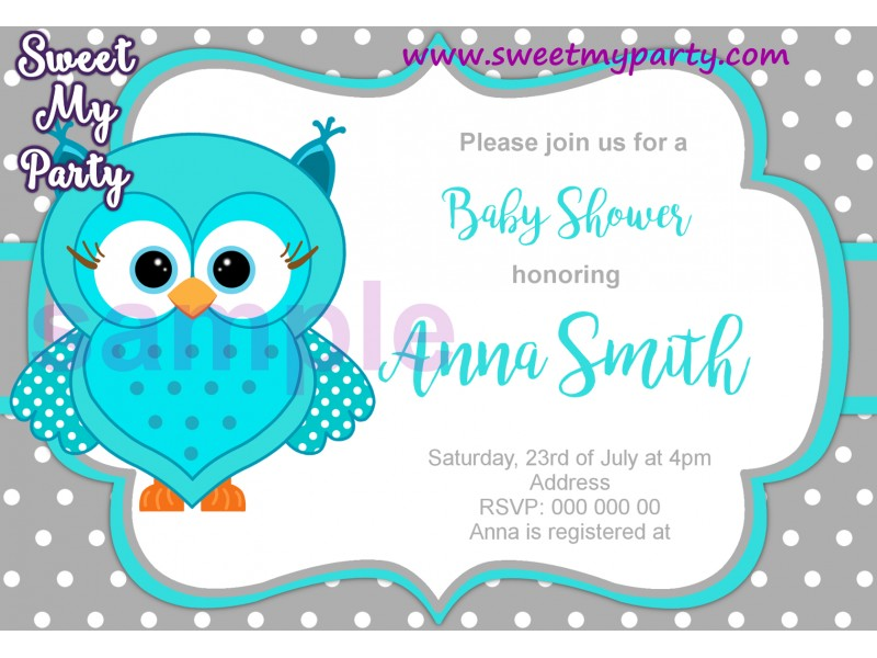 Turquoise Owl Baby Shower invitation|Turquoise Owl invitation|Gender ...
