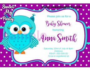 Turquoise Purple Owl Baby Shower invitation,Turquoise Purple Owl Baby Shower invitation,(002)