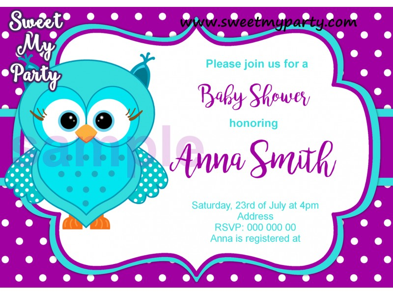 owl printable invitation invitations chevron pink baby shower il birthday gray rgpp vendors product grey