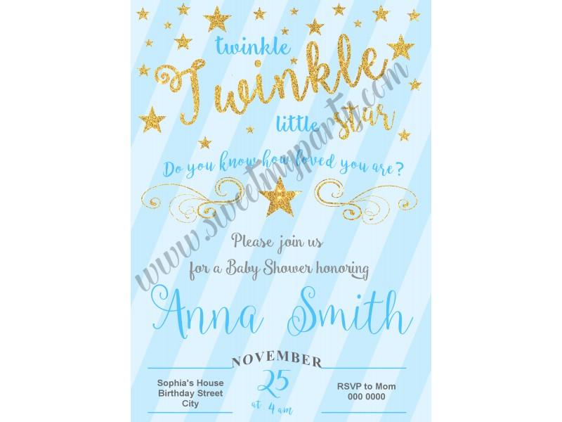 twinkle twinkle little star boy baby shower invitations|blue ...