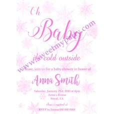 Winter Wonderland Baby Shower Invitation,(pink 3)