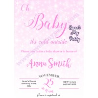 Winter Wonderland Baby Shower Invitation pink,(004)