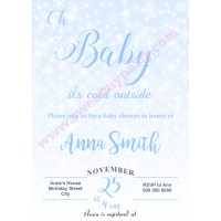 Winter Wonderland Baby Shower Invitation blue,(004)