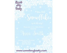 Winter Wonderland Baby Shower Invitation blue,(005)