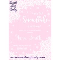 Winter Wonderland Baby Shower Invitation pink,(005)