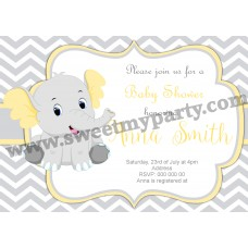 Yellow and grey elephant Baby Shower invitation,(005ebs)
