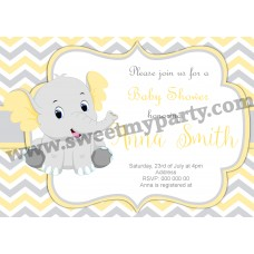 Yellow and grey elephant Baby Shower invitation,(006ebs)