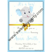Blue and Grey Elephant Baby Shower Invitation,(2ebb)