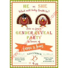 Turkey Gender Reveal Baby Shower Invitation,(002)