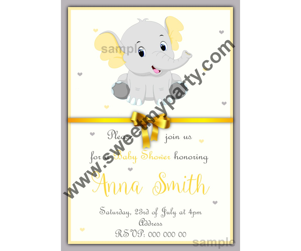 Yellow and grey elephant Baby Shower invitation,(001ebs)