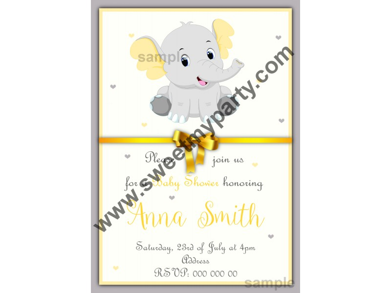 Yellow and grey elephant baby shower invitationsgender elephant yellow and grey elephant baby shower invitation001ebs filmwisefo