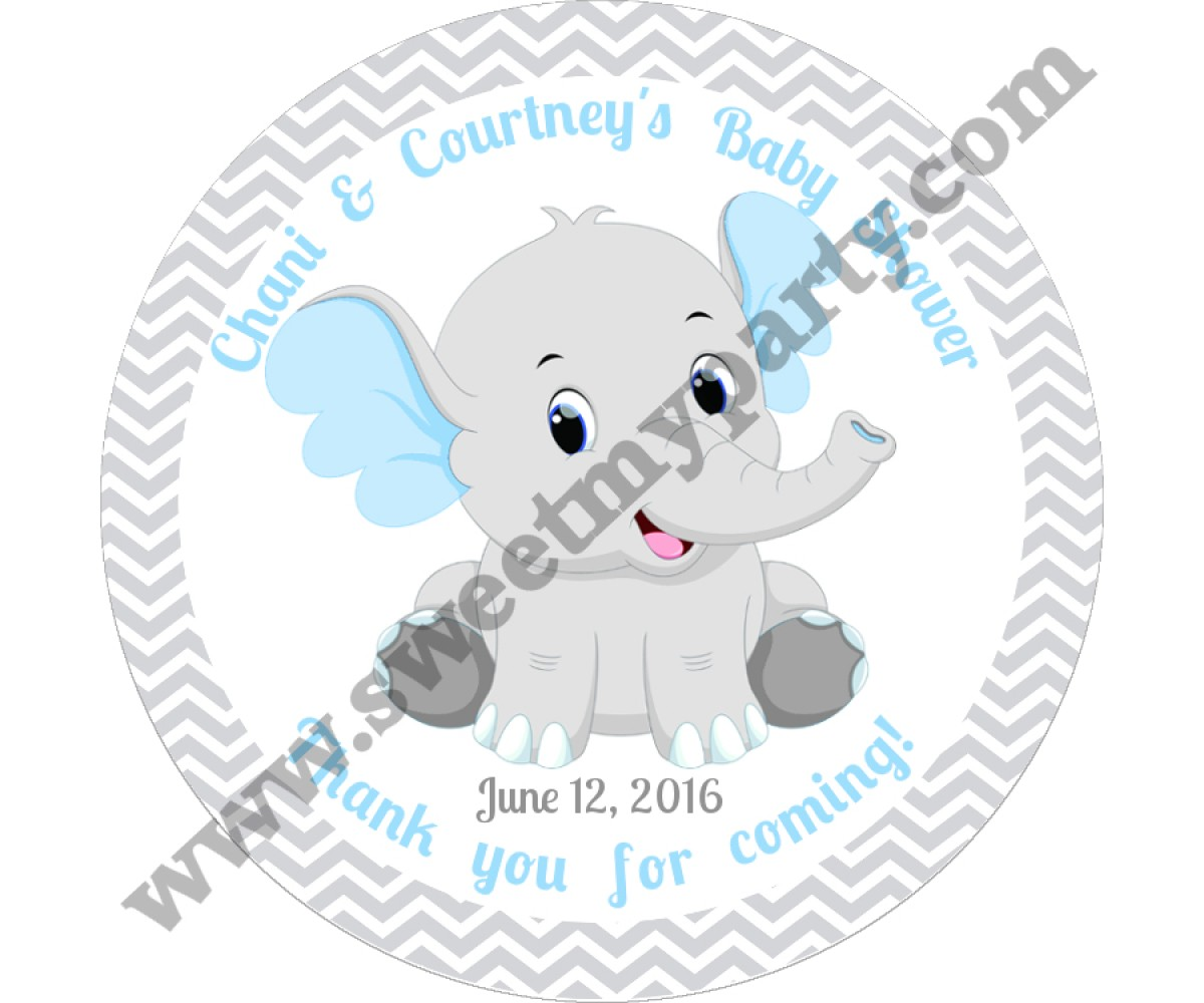 Blue and Grey Elephant Baby Shower stickers,thank you tags,(7ebb)