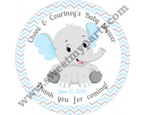 Blue and Grey Elephant Baby Shower stickers,thank you tags,(8ebb)