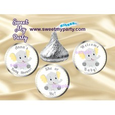 Elephant Baby Shower Hershey kisses stickers,Yellow Grey Elephant Baby Shower Hershey Kisses stickers,(6ebb)