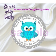 Turquoise Owl Baby Shower stickers,Turquoise Owl Baby Shower thank you tags,(001)