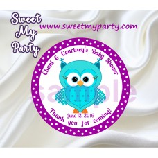 Turquoise Purple Owl Baby Shower stickers,Purple Turquoise Owl Baby Shower thank you tags,(002)