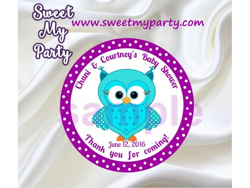 Turquoise Purple Owl Baby Shower Stickersturquoise Purple Owl Thank