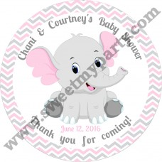 Pink and Grey Elephant Baby Shower stickers,thank you tags,(10ebb)
