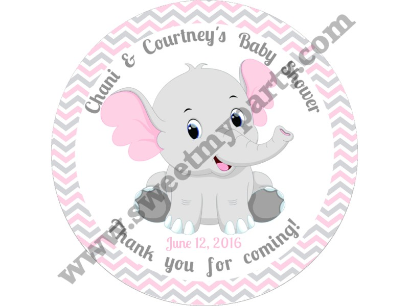 Pink And Grey Elephant Baby Shower Stickers Pink And Grey Chevron