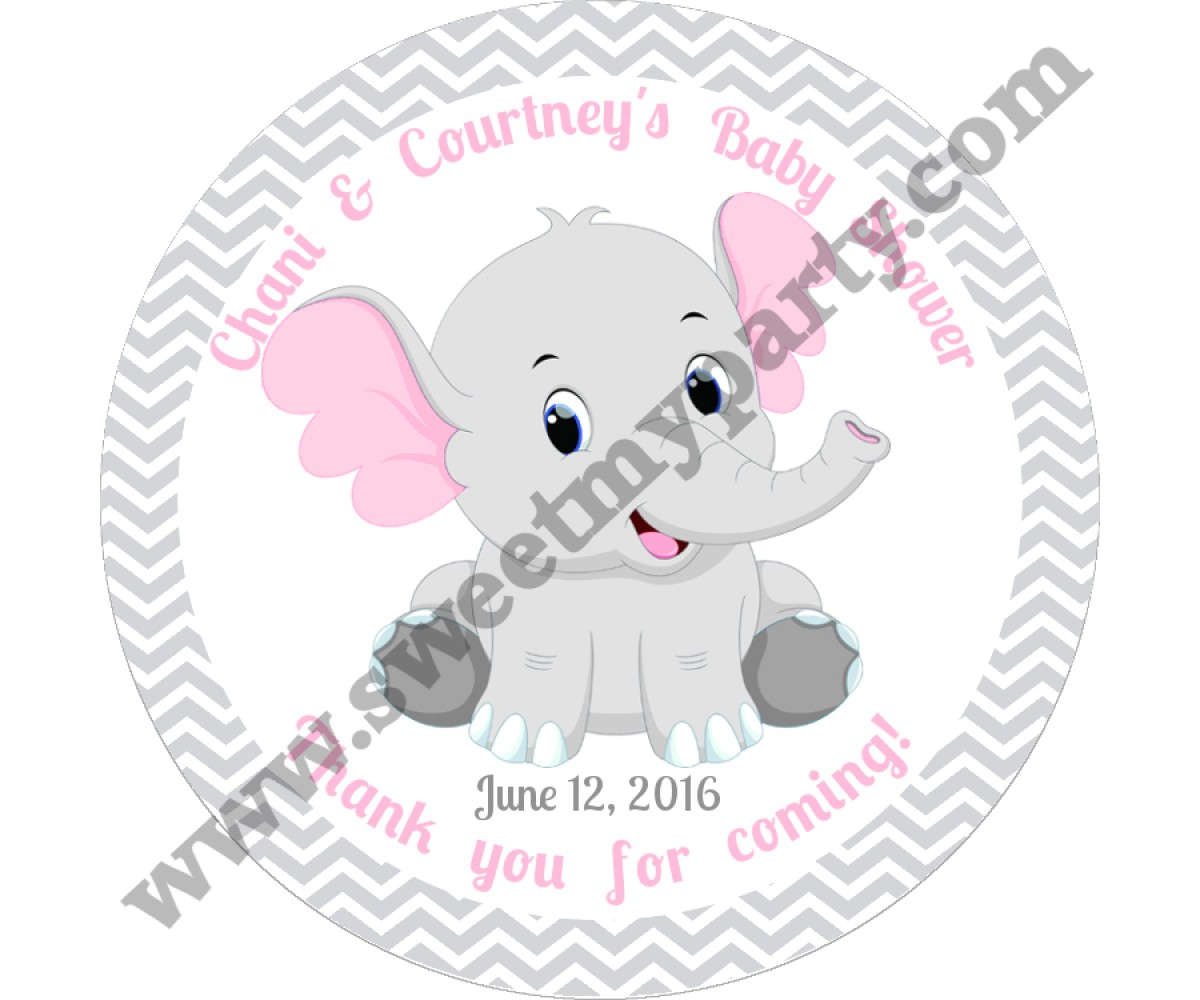 Pink and Grey Elephant Baby Shower stickers,thank you tags,(9ebb)