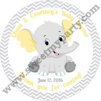 Yellow and grey elephant baby shower stickers,(005ebs)