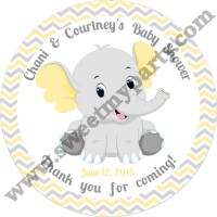 Yellow and grey elephant baby shower stickers,(006ebs)
